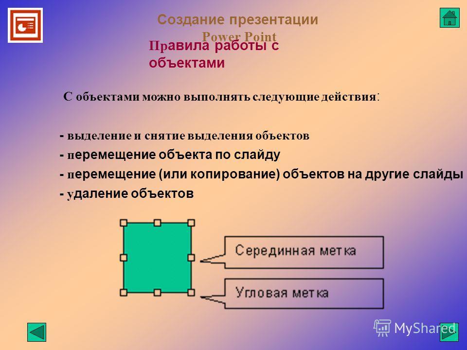 Создание презентации Power Point Пр авила работы с объектами - выделение и снятие выделения объектов - п еремещение объекта по слайду - п еремещение (или копирование) объектов на другие слайды - у даление объектов С объектами можно выполнять следующи