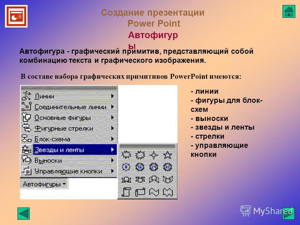 Создание презентации Power Point Автофигур ы Автофигура - графический примитив, представляющий собой комбинацию текста и графического изображения. В составе набора графических примитивов PowerPoint имеются: - линии - фигуры для блок- схем - выноски -