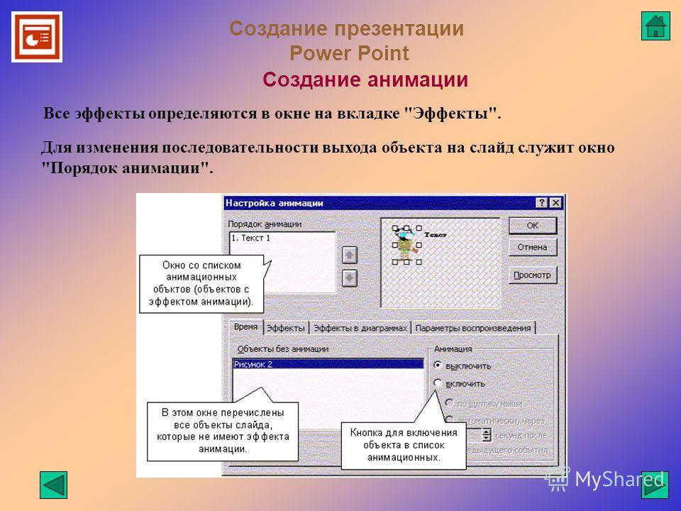 Создание презентации Power Point Создание анимации Все эффекты определяются в окне на вкладке Эффекты. Для изменения последовательности выхода объекта на слайд служит окно Порядок анимации.