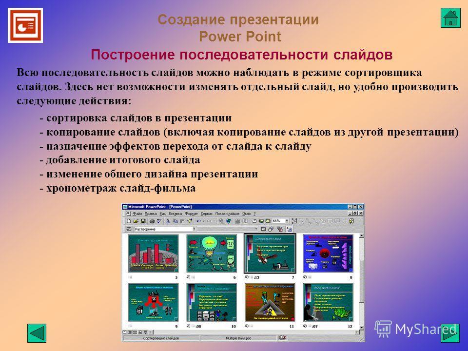 Создание презентации Power Point Построение последовательности слайдов Всю последовательность слайдов можно наблюдать в режиме сортировщика слайдов. Здесь нет возможности изменять отдельный слайд, но удобно производить следующие действия: - сортировк