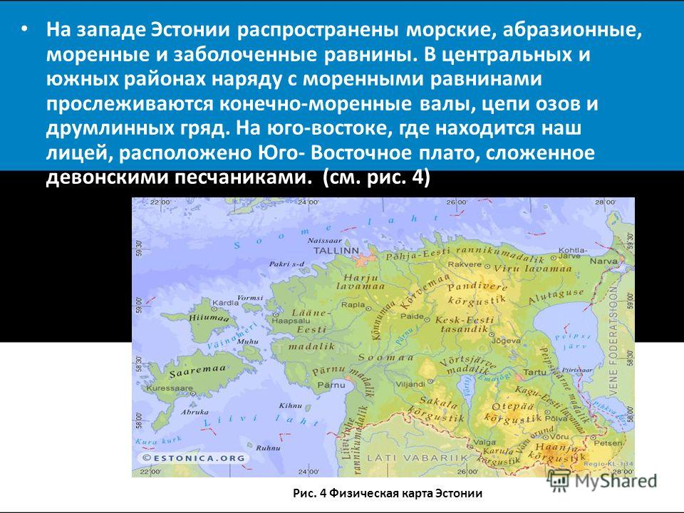 На западе Эстонии распространены морские, абразионные, моренные и заболоченные равнины. В центральных и южных районах наряду с моренными равнинами прослеживаются конечно-моренные валы, цепи озов и друмлинных гряд. На юго-востоке, где находится наш ли