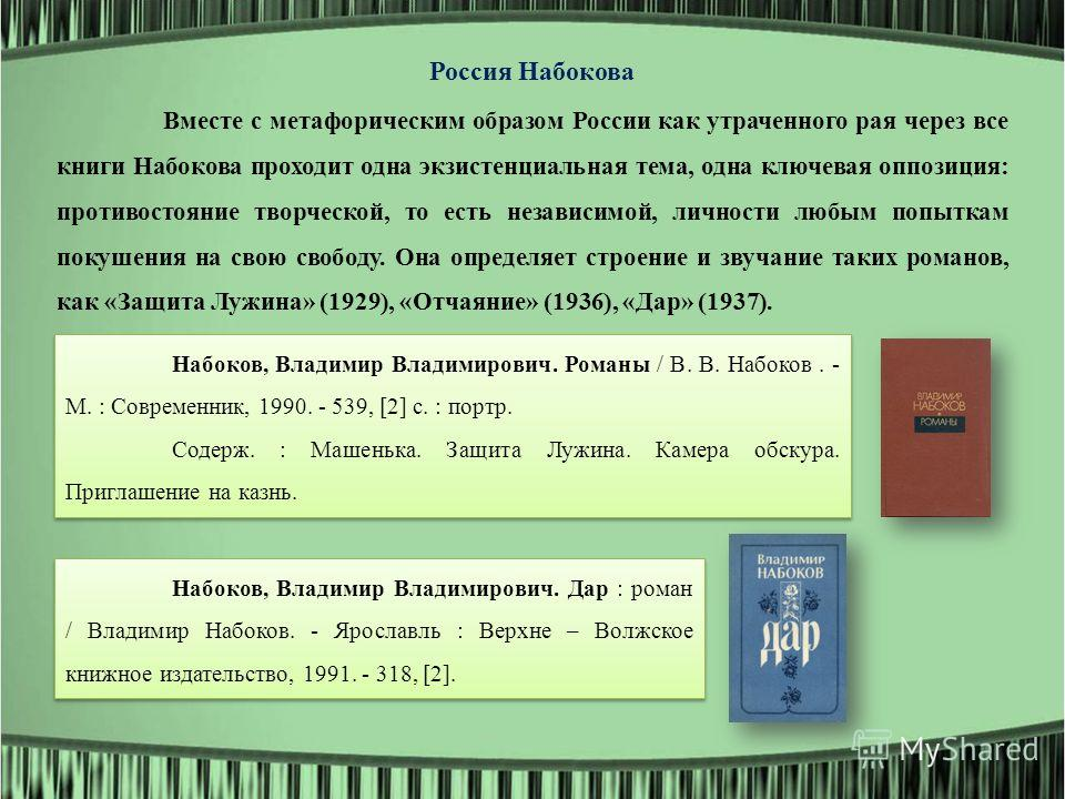 Россия Набокова Вместе с метафорическим образом России как утраченного рая через все книги Набокова проходит одна экзистенциальная тема, одна ключевая оппозиция: противостояние творческой, то есть независимой, личности любым попыткам покушения на сво