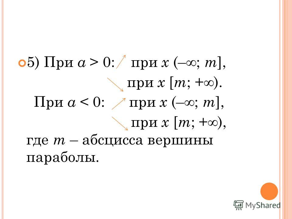 5) При а > 0: при х (–; т ], при х [ т ; +). При а < 0: при х (–; т ], при х [ т ; +), где т – абсцисса вершины параболы.