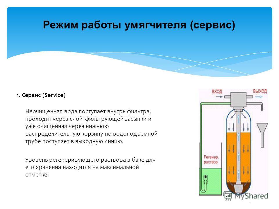 Режим работы умягчителя (сервис) 1. Сервис (Service) Неочищенная вода поступает внутрь фильтра, проходит через слой фильтрующей засыпки и уже очищенная через нижнюю распределительную корзину по водоподъемной трубе поступает в выходную линию. Уровень