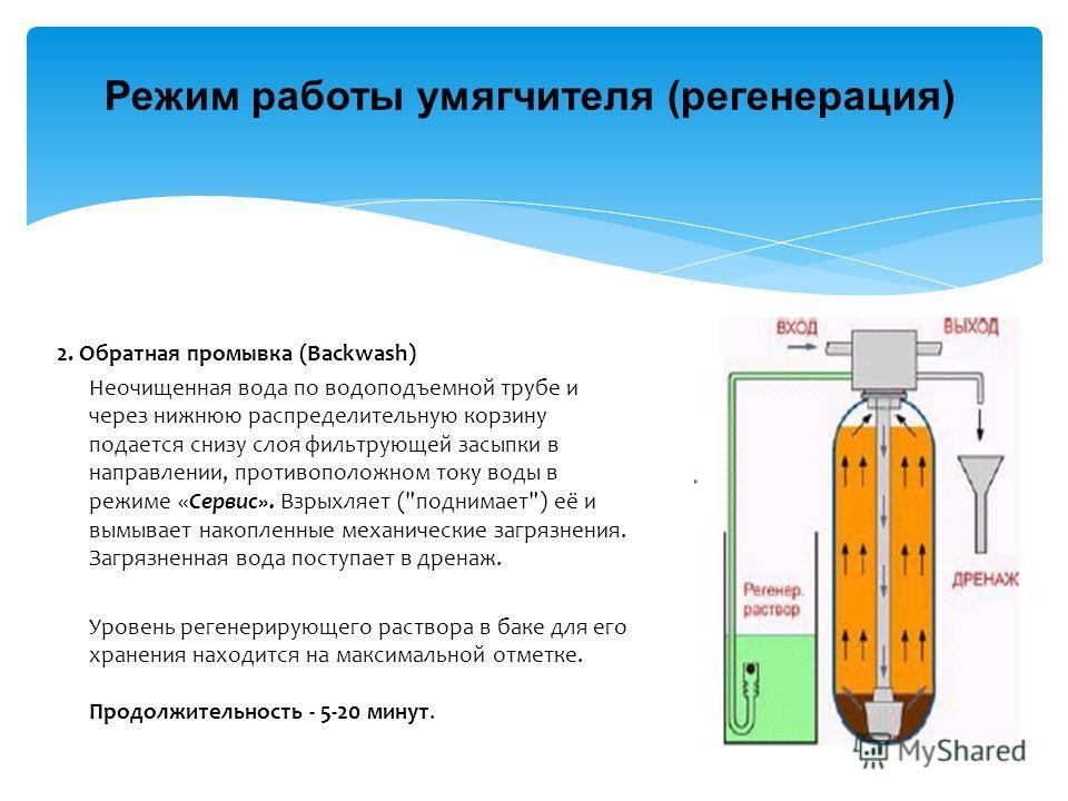 Режим работы умягчителя (регенерация) 2. Обратная промывка (Backwash) Неочищенная вода по водоподъемной трубе и через нижнюю распределительную корзину подается снизу слоя фильтрующей засыпки в направлении, противоположном току воды в режиме «Сервис».
