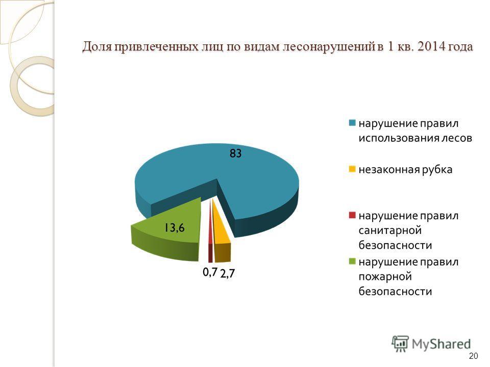 Доля привлеченных лиц по видам лесонарушений в 1 кв. 2014 года 20