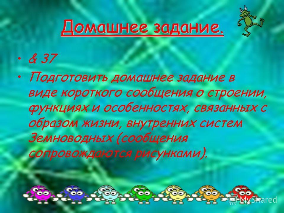 Домашнее задание. & 37 Подготовить домашнее задание в виде короткого сообщения о строении, функциях и особенностях, связанных с образом жизни, внутренних систем Земноводных (сообщения сопровождаются рисунками).