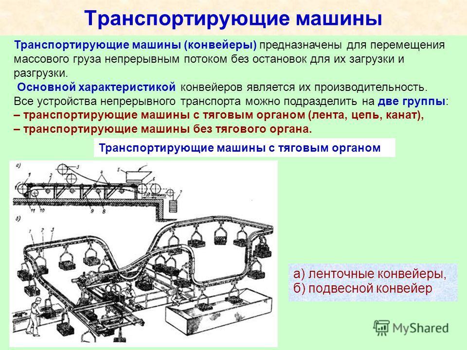 Транспортирующие машины а) ленточные конвейеры, б) подвесной конвейер Транспортирующие машины (конвейеры) предназначены для перемещения массового груза непрерывным потоком без остановок для их загрузки и разгрузки. Основной характеристикой конвейеров
