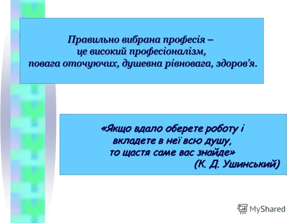 Правильно выбрана професія – це высокий професіоналізм, повага оточуючих, душевна рівновага, здоровья. повага оточуючих, душевна рівновага, здоровья. «Якщо вдали оберете роботу і вкладете в неї всю душу, то щастя сами вас знайте» (К. Д. Ушинський) (К