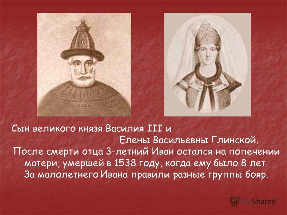 Сын великого князя Василия III и Елены Васильевны Глинской. После смерти отца 3-летний Иван остался на попечении матери, умершей в 1538 году, когда ему было 8 лет. За малолетнего Ивана правили разные группы бояр.