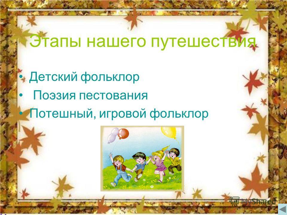 Этапы нашего путешествия Детский фольклор Поэзия пестования Потешный, игровой фольклор