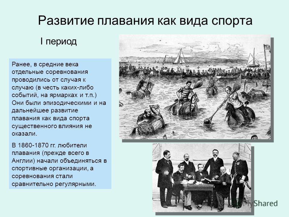 I период, 1860-1919 гг. Начали проводиться регулярные соревнований по плаванию 1 Большое количество экспериментов в технике плавания, которая быстро прогрессировала в эти годы. Возник прообраз кроля 2 Образование ФИНА в 1908 г. 3 Тренировка: 2-3 раза