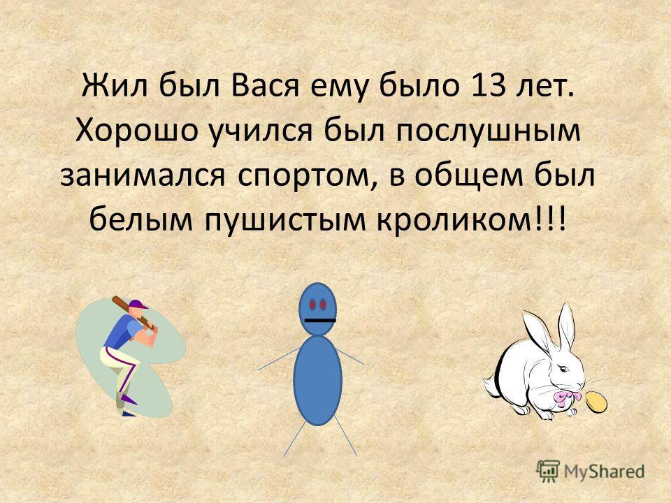 Жил был Вася ему было 13 лет. Хорошо учился был послушным занимался спортом, в общем был белым пушистым кроликом!!!