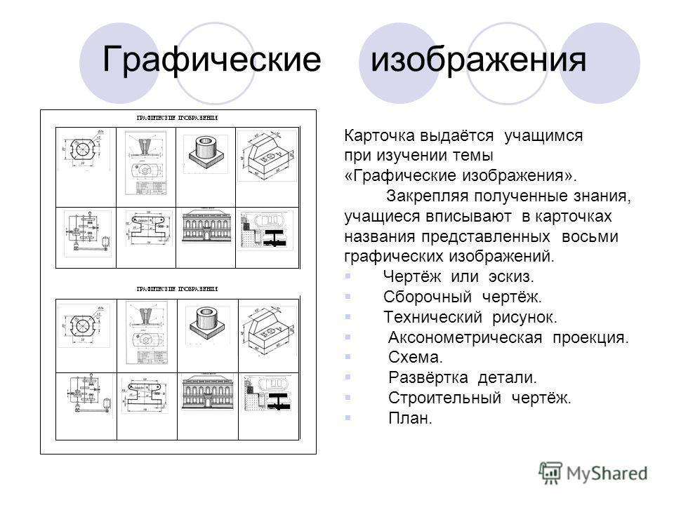 Графические изображения Карточка выдаётся учащимся при изучении темы «Графические изображения». Закрепляя полученные знания, учащиеся вписывают в карточках названия представленных восьми графических изображений. Чертёж или эскиз. Сборочный чертёж. Те