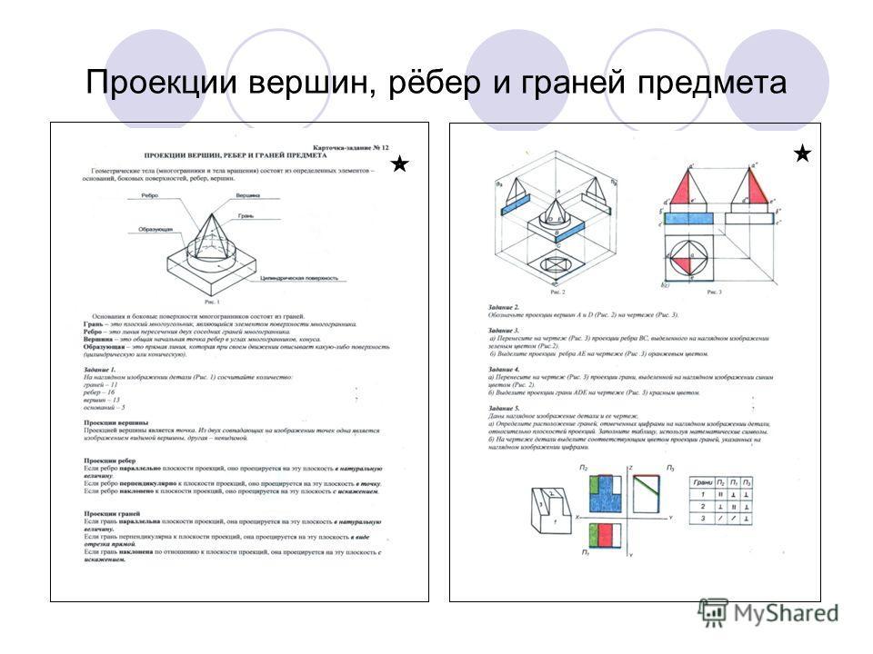 Проекции вершин, рёбер и граней предмета