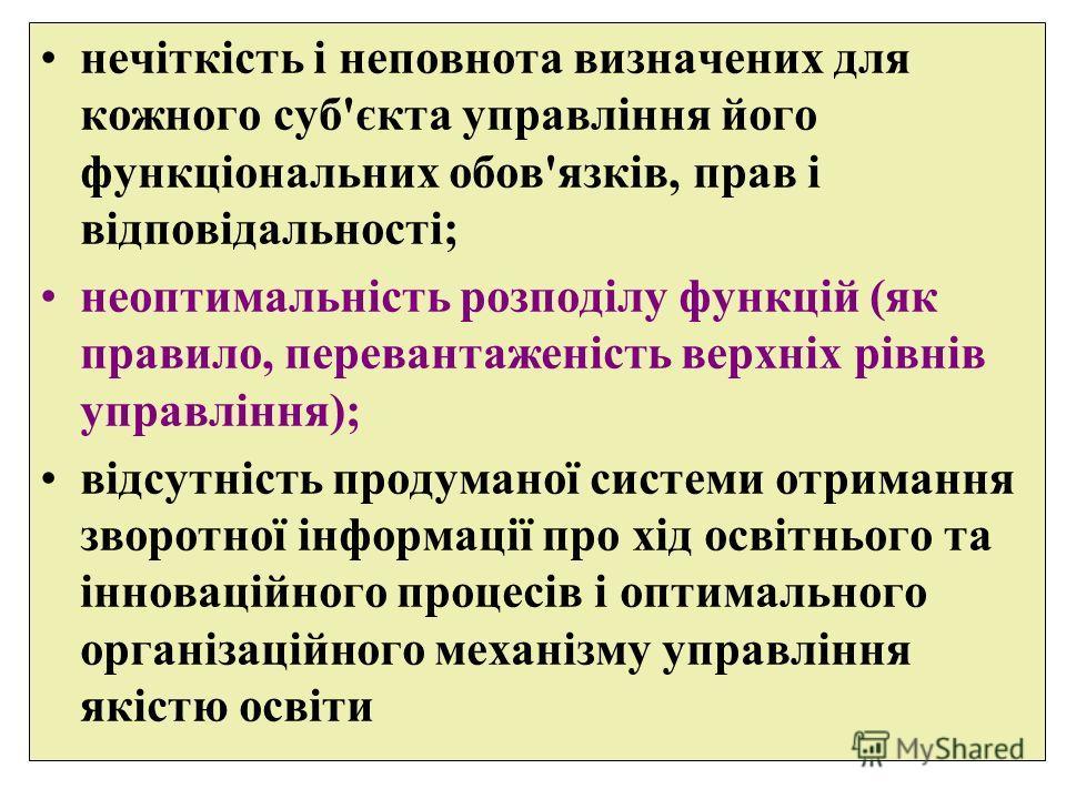 нечіткість і неповнота визначених для кожного суб'єкта управління його функціональних обов'язків, прав і відповідальності; неоптимальність розподілу функцій (як правило, перевантаженість верхніх рівнів управління); відсутність продуманої системы отри