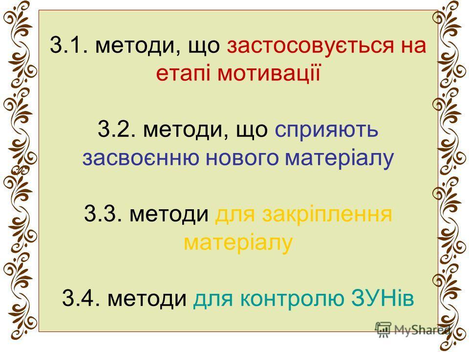 3.1. методы, що застосовується на етапі мотивації 3.2. методы, що сприяють засвоєнню нового матеріалу 3.3. методы для закріплення матеріалу 3.4. методы для контролю ЗУНів