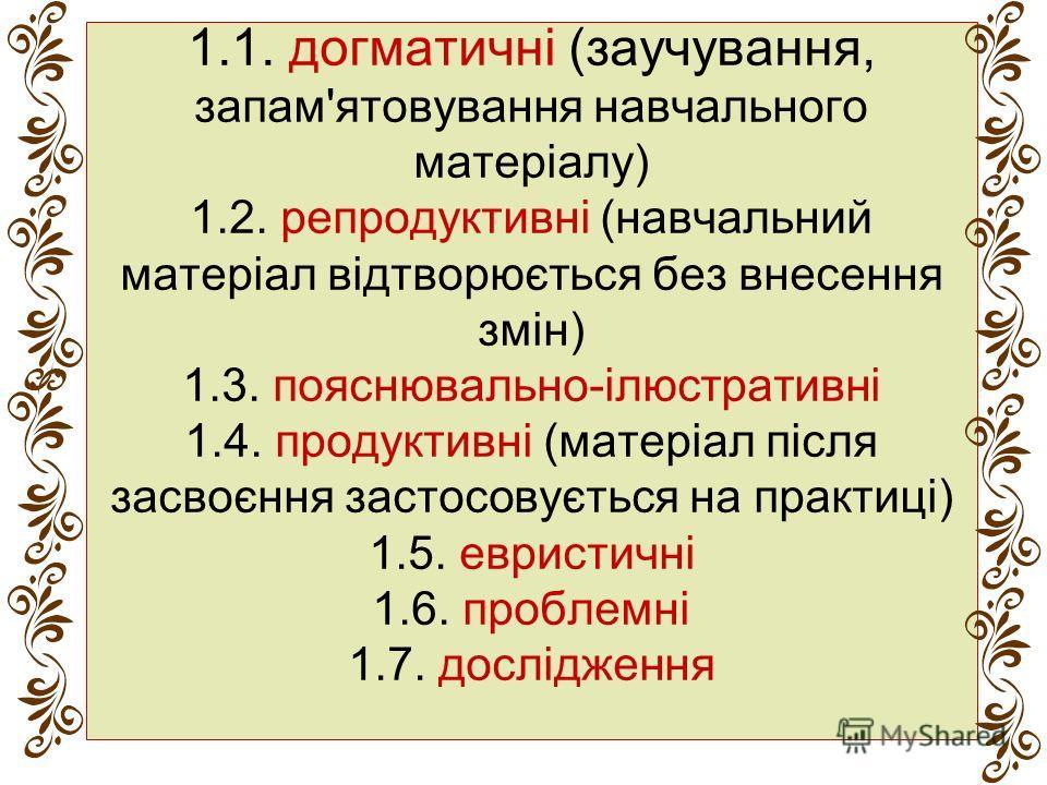 1.1. догматичні (заучування, запам'ятовування навчального матеріалу) 1.2. репродуктивні (навчальнией матеріал відтворюється без внесення змін) 1.3. пояснювально-ілюстративні 1.4. продуктивні (матеріал після засвоєння застосовується на практиці) 1.5.