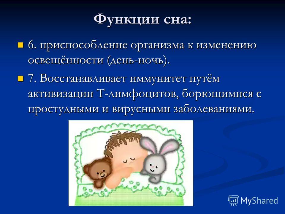 Функции сна: 6. приспособление организма к изменению освещённости (день-ночь). 6. приспособление организма к изменению освещённости (день-ночь). 7. Восстанавливает иммунитет путём активизации T-лимфоцитов, борющимися с простудными и вирусными заболев