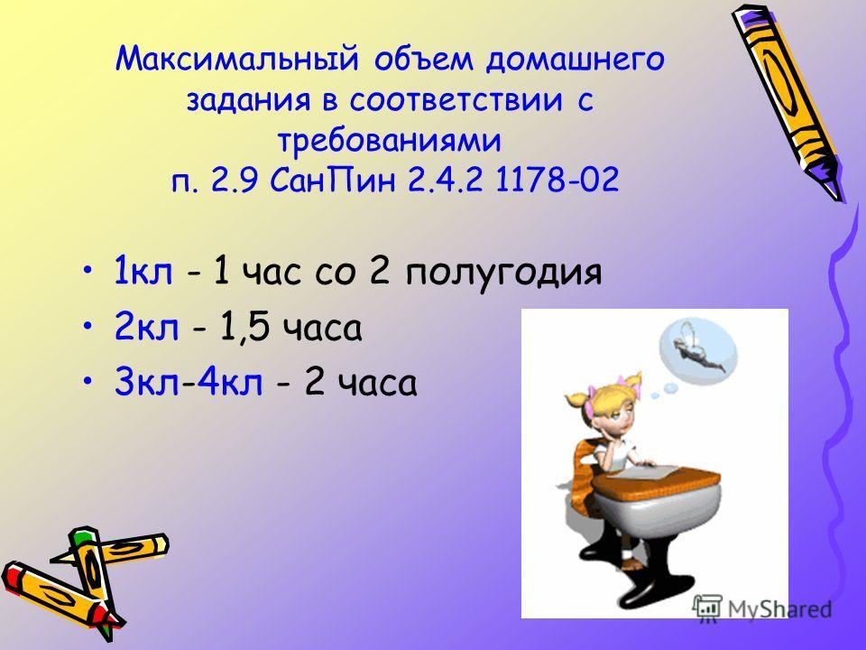 Максимальный объем домашнего задания в соответствии с требованиями п. 2.9 Сан Пин 2.4.2 1178-02 1 кл - 1 час со 2 полугодия 2 кл - 1,5 часа 3 кл-4 кл - 2 часа