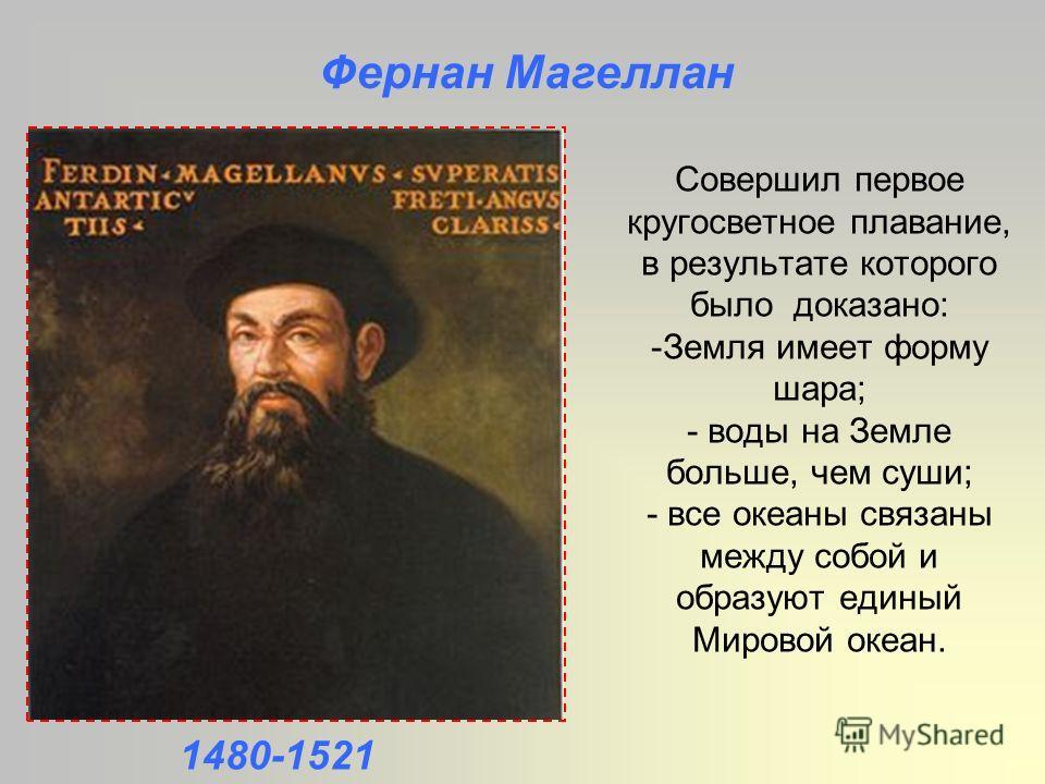 Совершил первое кругосветное плавание, в результате которого было доказано: -Земля имеет форму шара; - воды на Земле больше, чем суши; - все океаны связаны между собой и образуют единый Мировой океан. Фернан Магеллан 1480-1521