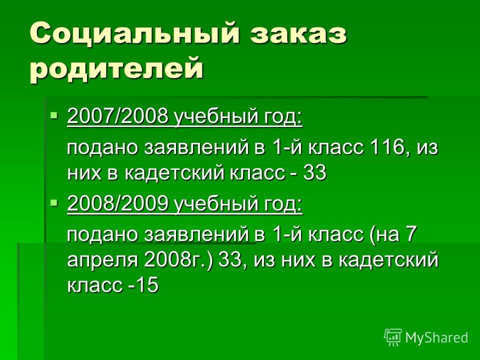 Социальный заказ родителей 2007/2008 учебный год: 2007/2008 учебный год: подано заявлений в 1-й класс 116, из них в кадетский класс - 33 подано заявлений в 1-й класс 116, из них в кадетский класс - 33 2008/2009 учебный год: 2008/2009 учебный год: под