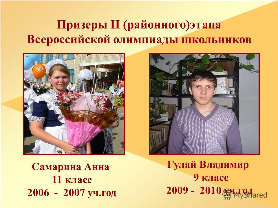 У Призеры II (районного)этапа Всероссийской олимпиады школьников Самарина Анна 11 класс 2006 - 2007 уч.год Гулай Владимир 9 класс 2009 - 2010 уч.год
