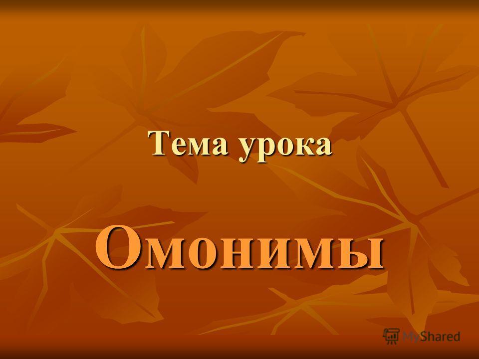 Тема урока Омонимы