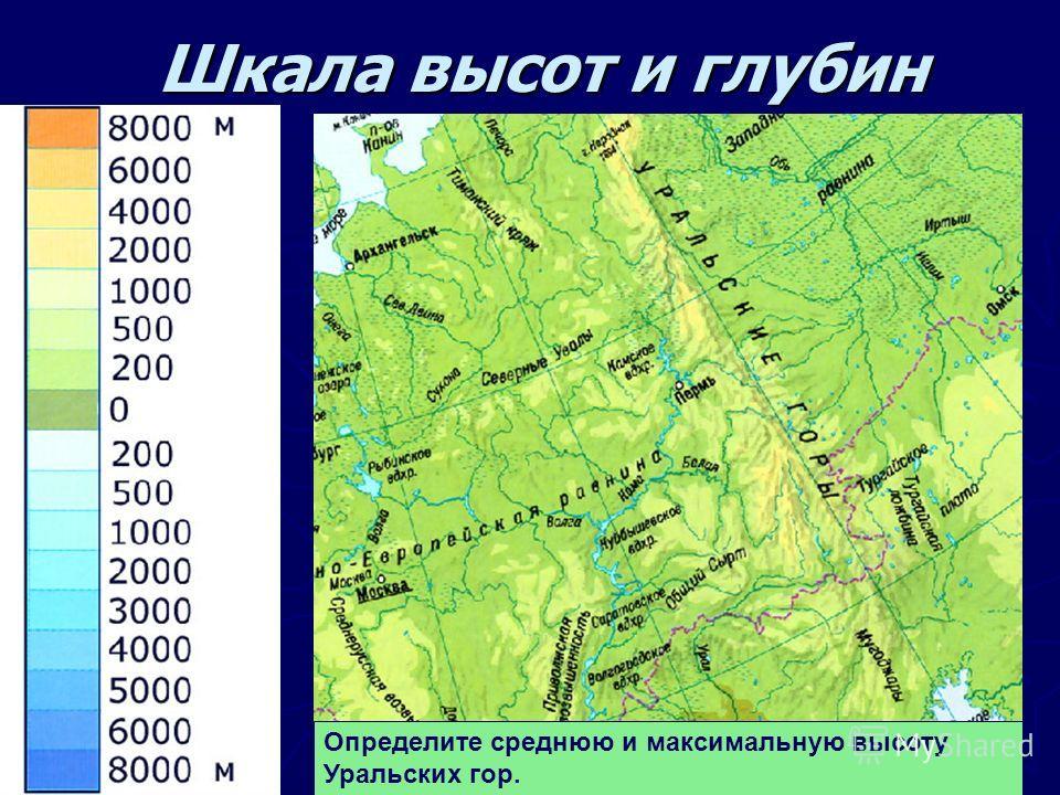 Шкала высот и глубин Шкала высот и глубин Определите среднюю и максимальную высоту Уральских гор.
