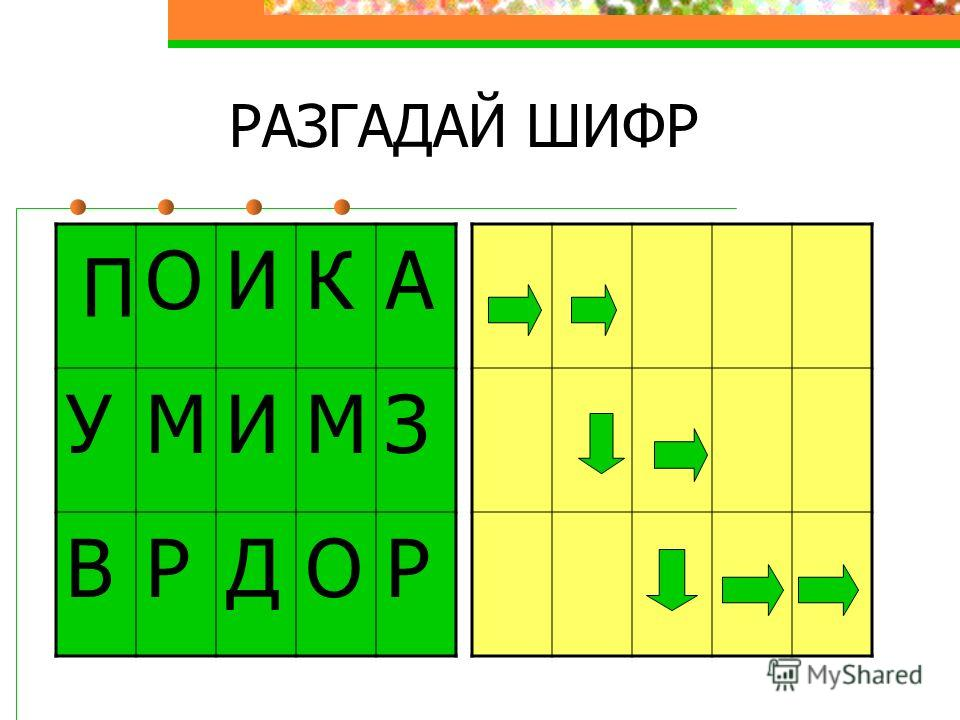 РАЗГАДАЙ ШИФР ОИКА УМИМЗ ВРДОР П