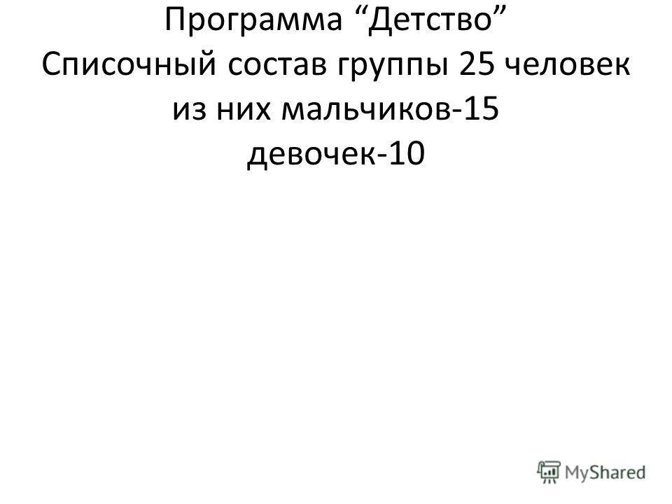 Характеристика группы. Программа Детство Списочный состав группы 25 человек из них мальчиков-15 девочек-10