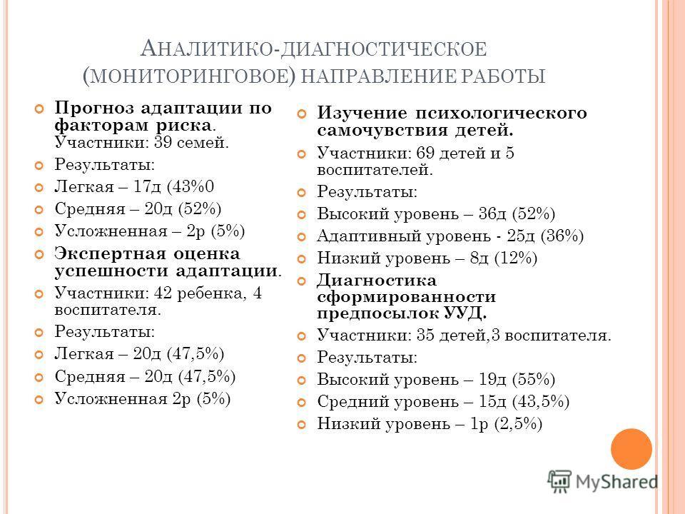 А НАЛИТИКО - ДИАГНОСТИЧЕСКОЕ ( МОНИТОРИНГОВОЕ ) НАПРАВЛЕНИЕ РАБОТЫ Прогноз адаптации по факторам риска. Участники: 39 семей. Результаты: Легкая – 17 д (43%0 Средняя – 20 д (52%) Усложненная – 2 р (5%) Экспертная оценка успешности адаптации. Участники