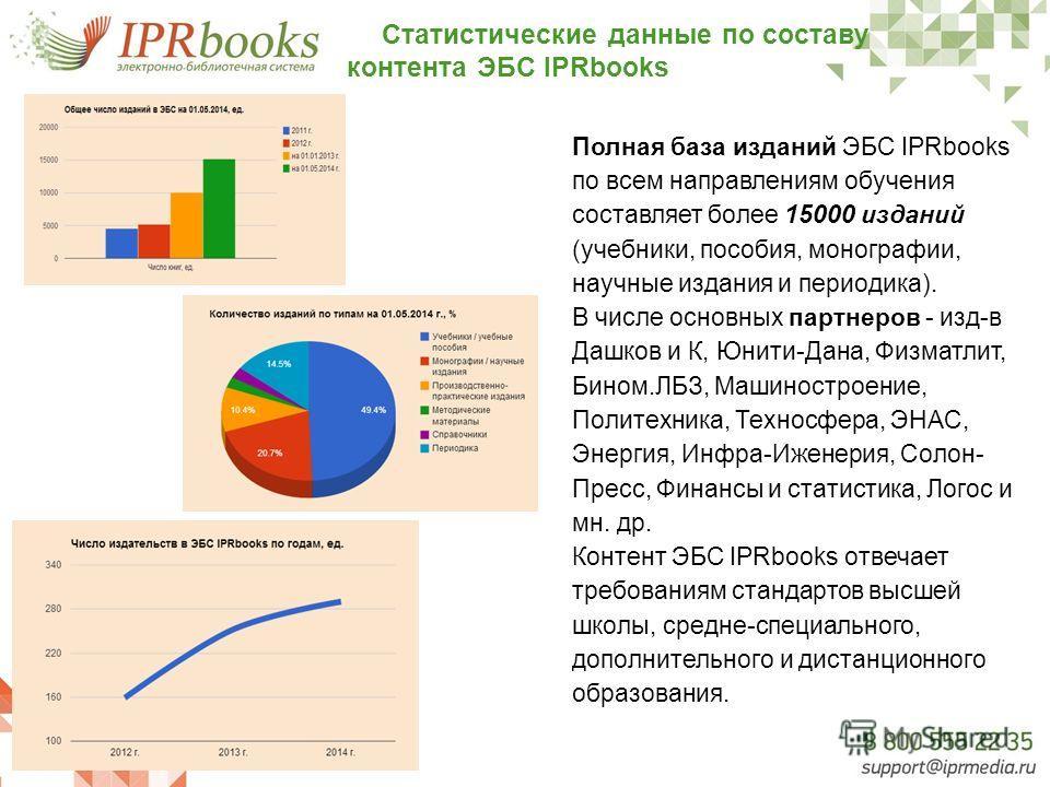 Статистические данные по составу контента ЭБС IPRbooks Полная база изданий ЭБС IPRbooks по всем направлениям обучения составляет более 15000 изданий (учебники, пособия, монографии, научные издания и периодика). В числе основных партнеров - изд-в Дашк