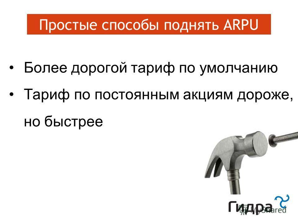 Зацепки: программа лояльности Простые способы поднять ARPU Более дорогой тариф по умолчанию Тариф по постоянным акциям дороже, но быстрее