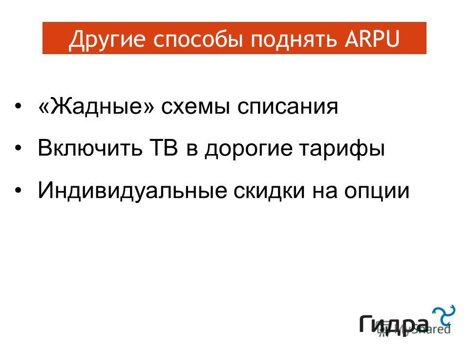 Зацепки: программа лояльности Другие способы поднять ARPU «Жадные» схемы списания Включить ТВ в дорогие тарифы Индивидуальные скидки на опции