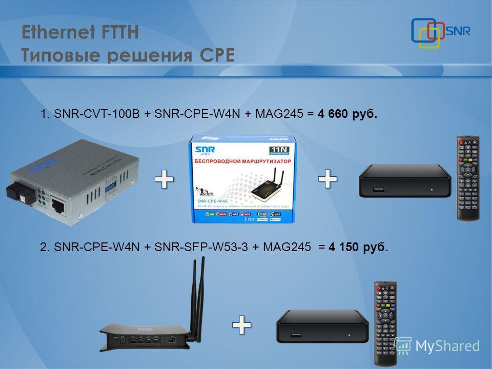 Ethernet FTTH Типовые решения CPE 1. SNR-CVT-100B + SNR-CPE-W4N + MAG245 = 4 660 руб. 2. SNR-CPE-W4N + SNR-SFP-W53-3 + MAG245 = 4 150 руб.