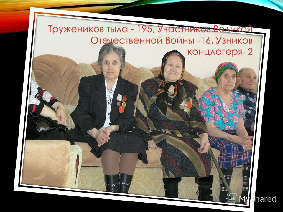 Тружеников тыла - 195, Участников Великой Отечественной Войны -16, Узников концлагеря- 2
