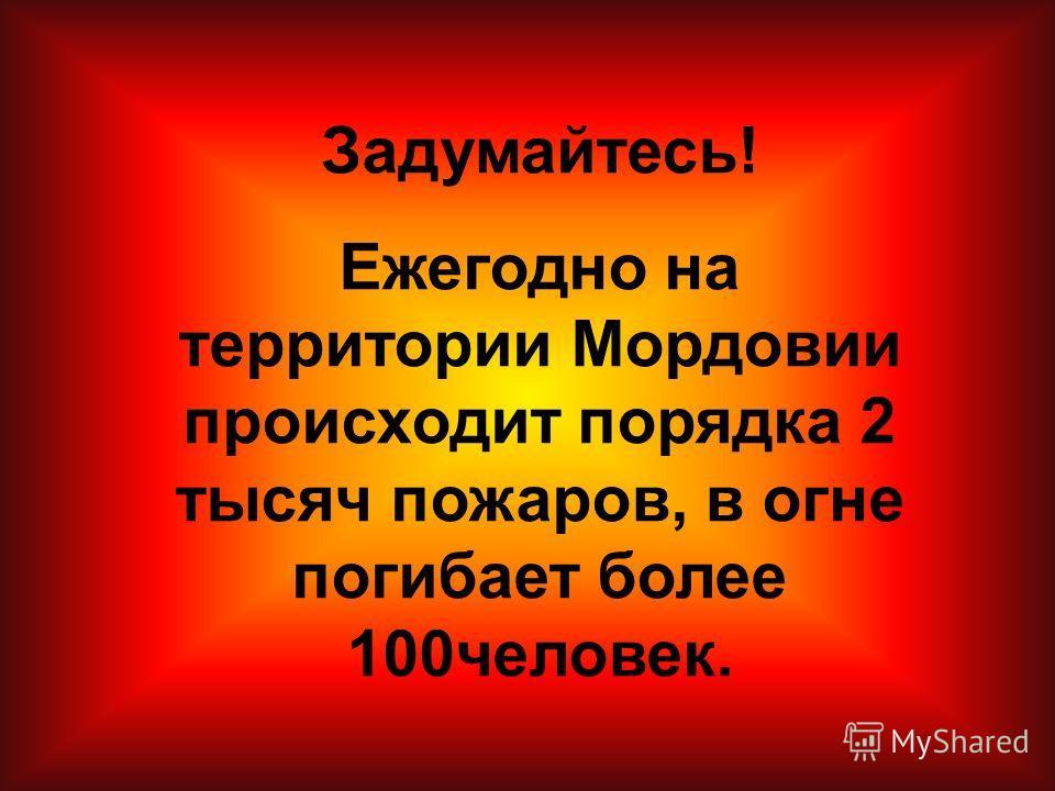 Задумайтесь! Ежегодно на территории Мордовии происходит порядка 2 тысяч пожаров, в огне погибает более 100 человек.