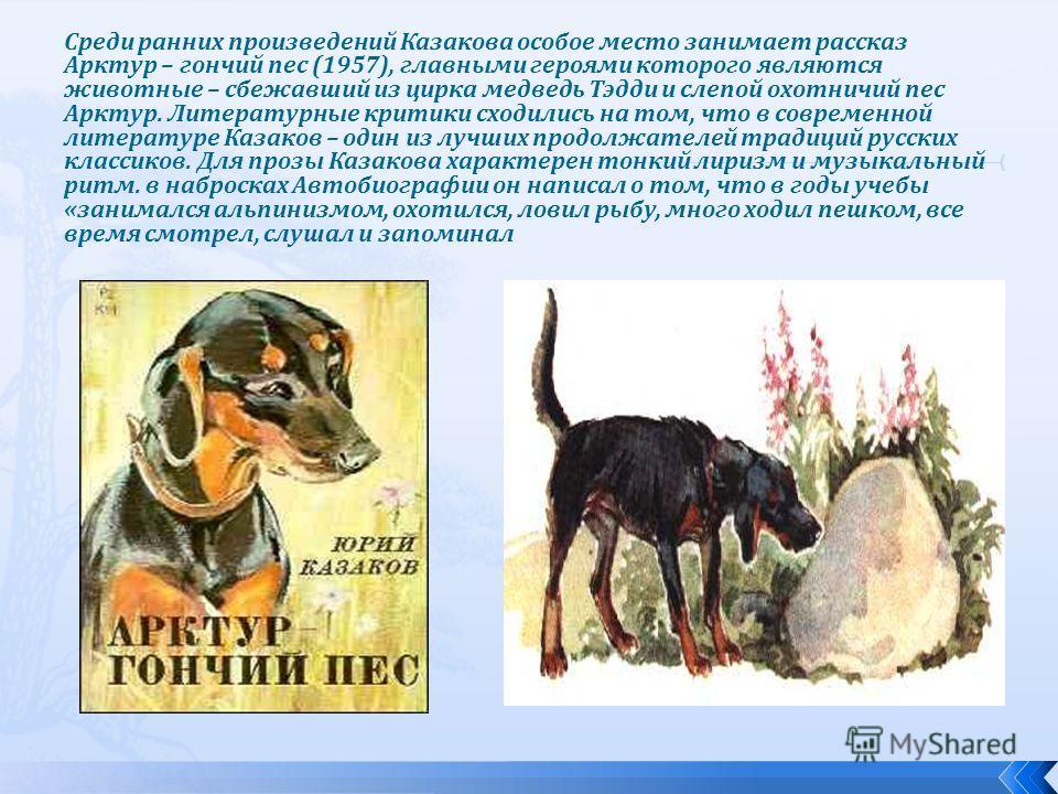Среди ранних произведений Казакова особое место занимает рассказ Арктур – гончий пес (1957), главными героями которого являются животные – сбежавший из цирка медведь Тэдди и слепой охотничий пес Арктур. Литературные критики сходились на том, что в со