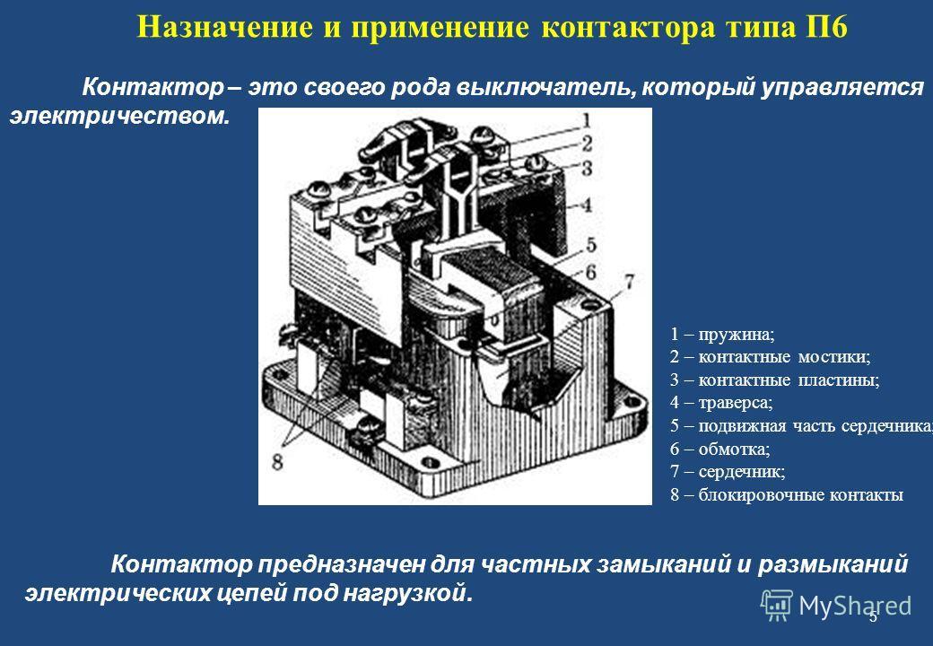 5 Назначение и применение контактора типа П6 Контактор – это своего рода выключатель, который управляется электричеством. 1 – пружина; 2 – контактные мостики; 3 – контактные пластины; 4 – траверса; 5 – подвижная часть сердечника; 6 – обмотка; 7 – сер