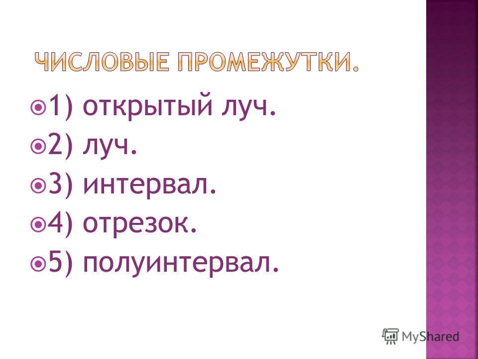 1) открытый луч. 2) луч. 3) интервал. 4) отрезок. 5) полуинтервал.