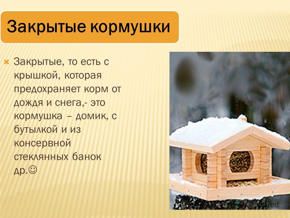 Закрытые кормушки Закрытые, то есть с крышкой, которая предохраняет корм от дождя и снега,- это кормушка – домик, с бутылкой и из консервной стеклянных банок др.