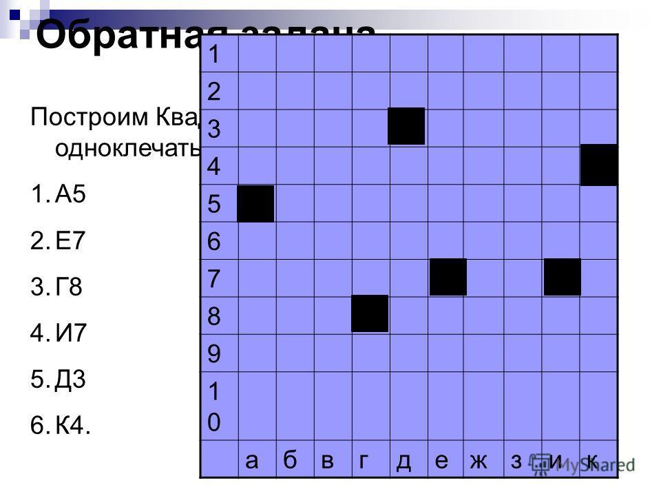 Обратная задача Построим Квадрат 10 х 10 и отметим одно клетчатые кораблики с координатами: 1.А5 2.Е7 3.Г8 4.И7 5.Д3 6.К4. 1 2 3 4Х 5Х 6 7ХХ 8Х 9 1010 абвгдежзик