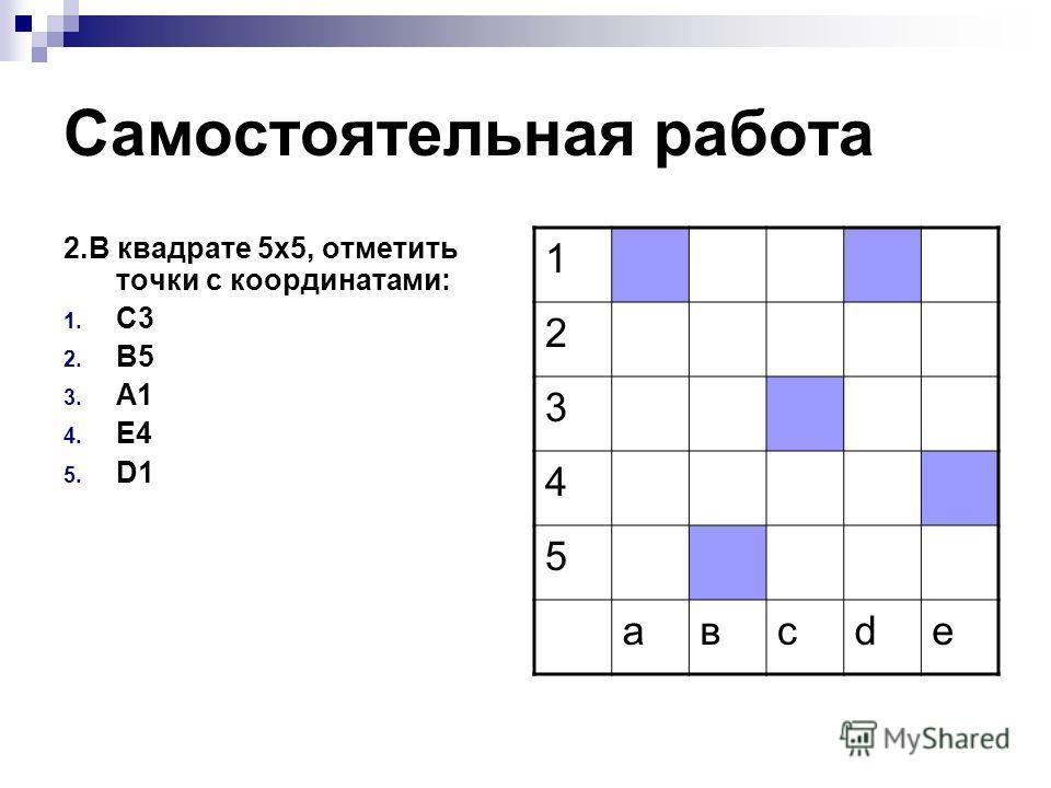 Самостоятельная работа 2. В квадрате 5 х 5, отметить точки с координатами: 1. С3 2. В5 3. А1 4. E4 5. D1 1 2 3 4 5 авсde