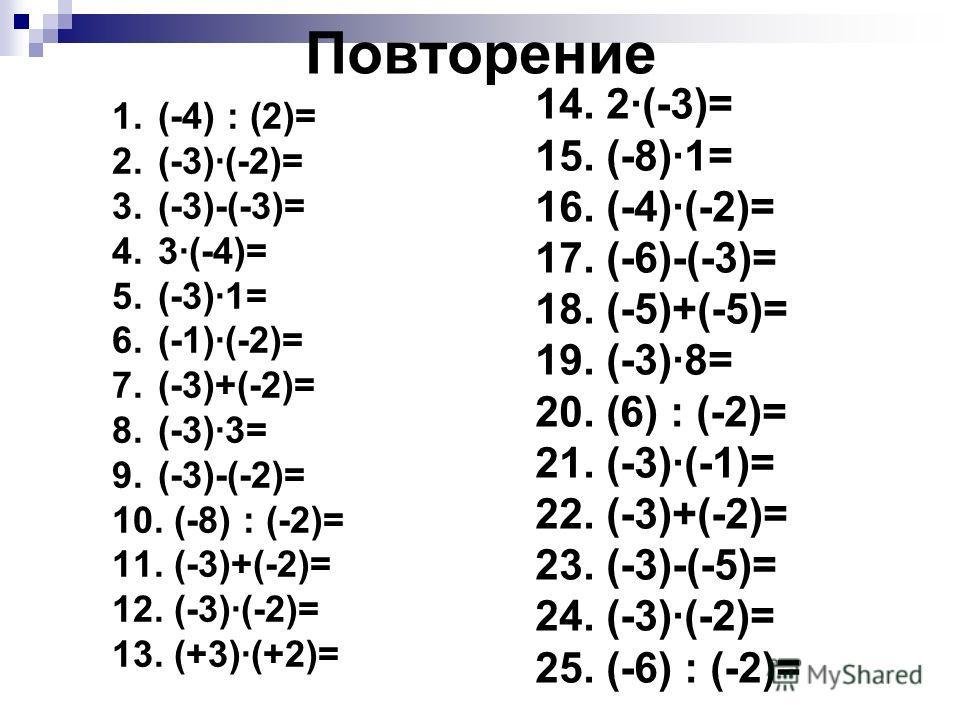 Повторение 1. (-4) : (2)= 2. (-3)(-2)= 3. (-3)-(-3)= 4. 3(-4)= 5. (-3)1= 6. (-1)(-2)= 7. (-3)+(-2)= 8. (-3)3= 9. (-3)-(-2)= 10. (-8) : (-2)= 11. (-3)+(-2)= 12. (-3)(-2)= 13. (+3)(+2)= 14. 2(-3)= 15. (-8)1= 16. (-4)(-2)= 17. (-6)-(-3)= 18. (-5)+(-5)=