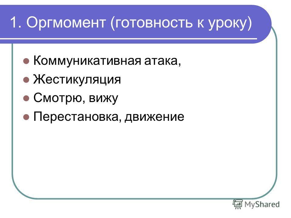 1. Оргмомент (готовность к уроку) Коммуникативная атака, Жестикуляция Смотрю, вижу Перестановка, движение