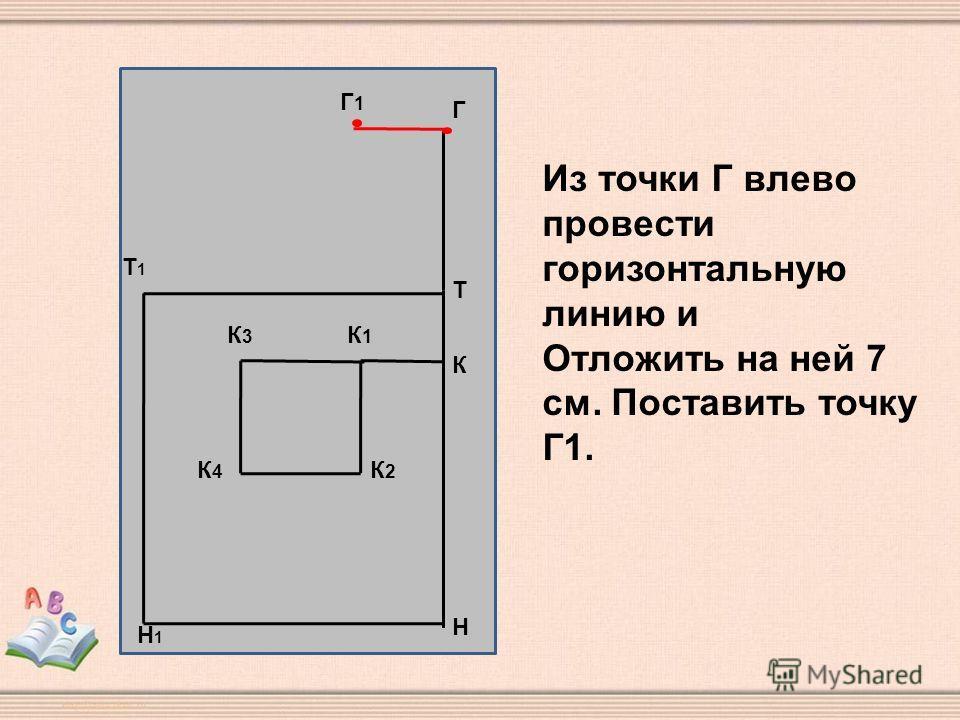 Н Т Т1Т1 Н1Н1 К К1К1 К3К3 К2К2 К4К4 Г Г1Г1 Из точки Г влево провести горизонтальную линию и Отложить на ней 7 см. Поставить точку Г1.