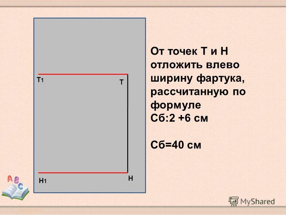 Н Т Т1Т1 Н1Н1 От точек Т и Н отложить влево ширину фартука, рассчитанную по формуле Сб:2 +6 см Сб=40 см