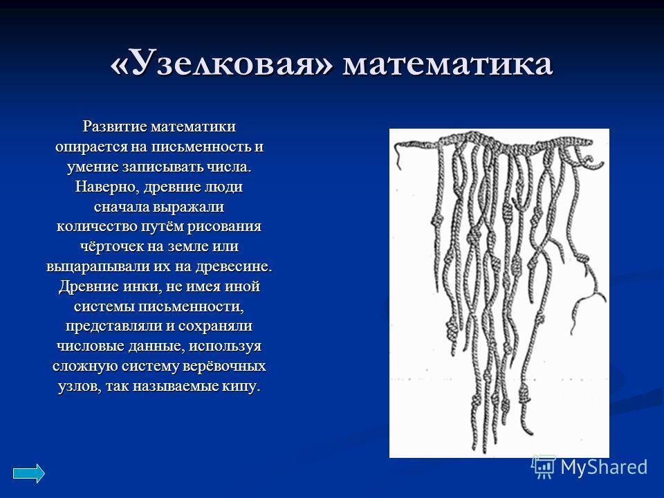 «Узелковая» математика Развитие математики опирается на письменность и умение записывать числа. Наверно, древние люди сначала выражали количество путём рисования чёрточек на земле или выцарапывали их на древесине. Древние инки, не имея иной системы п
