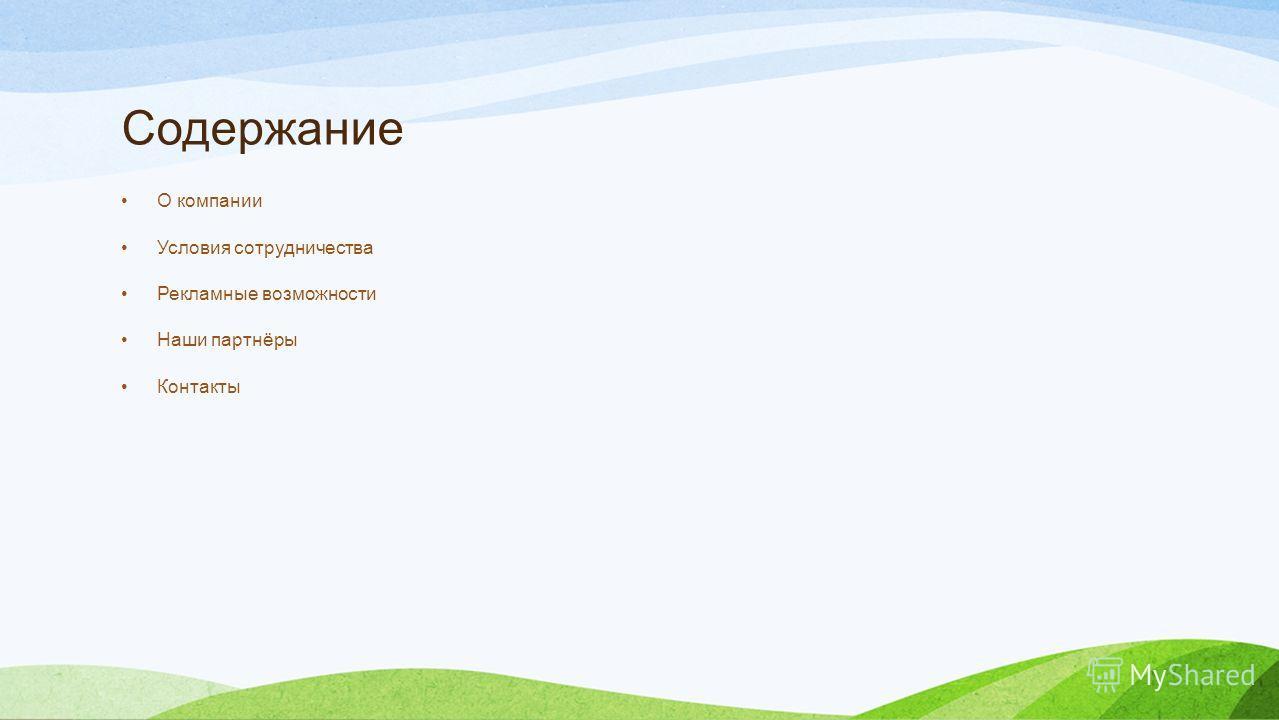 Содержание О компании Условия сотрудничества Рекламные возможности Наши партнёры Контакты